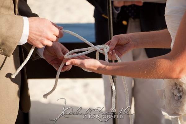 Knot tying French's Point Wedding