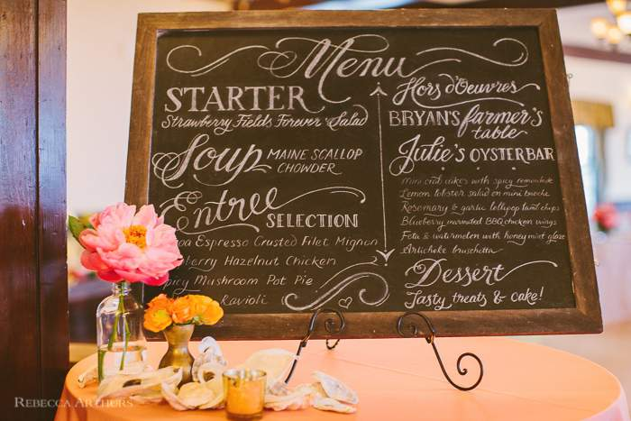 French's Point Wedding Menu