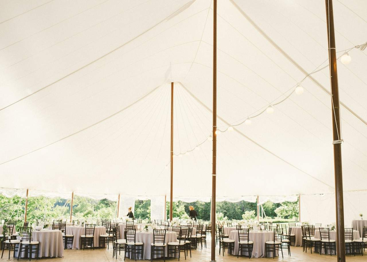 Sail Cloth Tent Wedding Reception at French's Point in Midcoast Maine