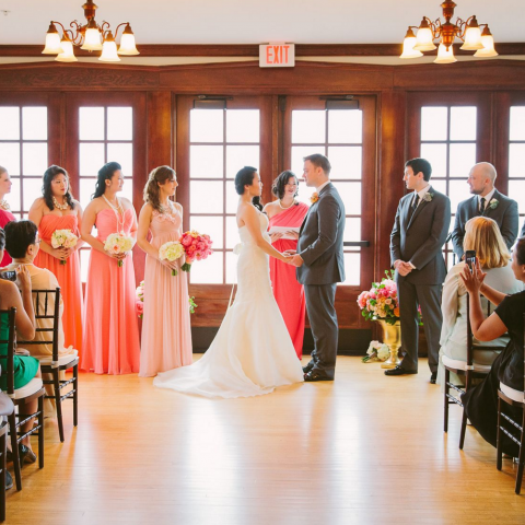 Indoor Wedding Ceremony at French's Point in Midcoast Maine - Coastal Maine Wedding Venue and Vacation Home Rental - - Rebecca Arthurs Photography