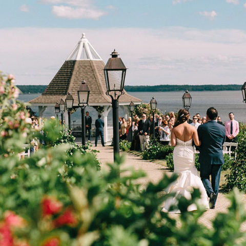 Wedding ceremony overlooking the coast of Maine.